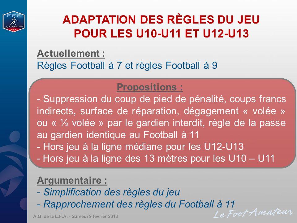 ADAPTATION DES RÈGLES DU JEU POUR LES U10-U11 ET U12-U13 Actuellement : Règles Football à 7 et règles Football à 9 Propositions : - Suppression du cou