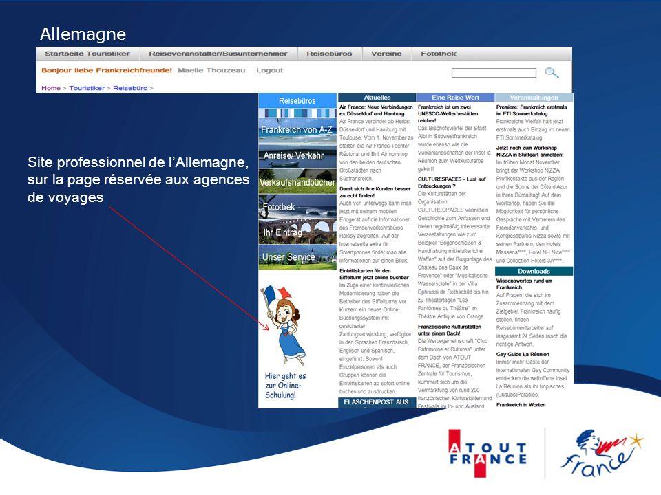 Allemagne Site professionnel de lAllemagne, sur la page réservée aux agences de voyages