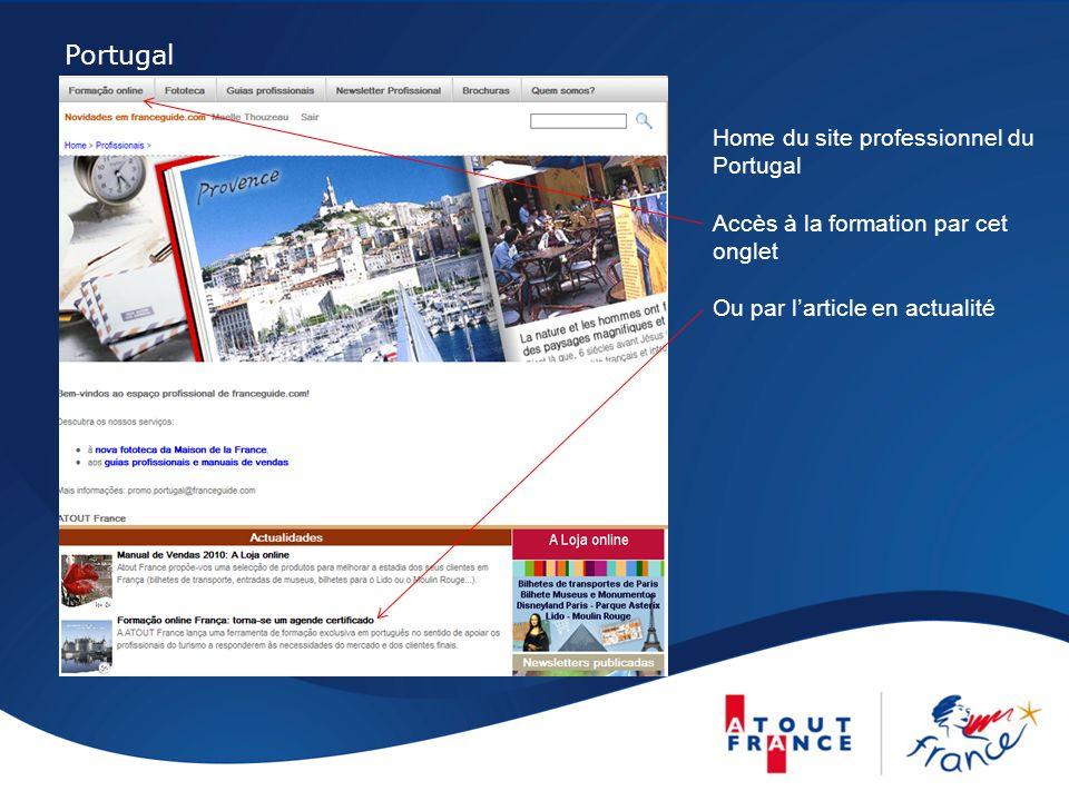 Portugal Home du site professionnel du Portugal Accès à la formation par cet onglet Ou par larticle en actualité