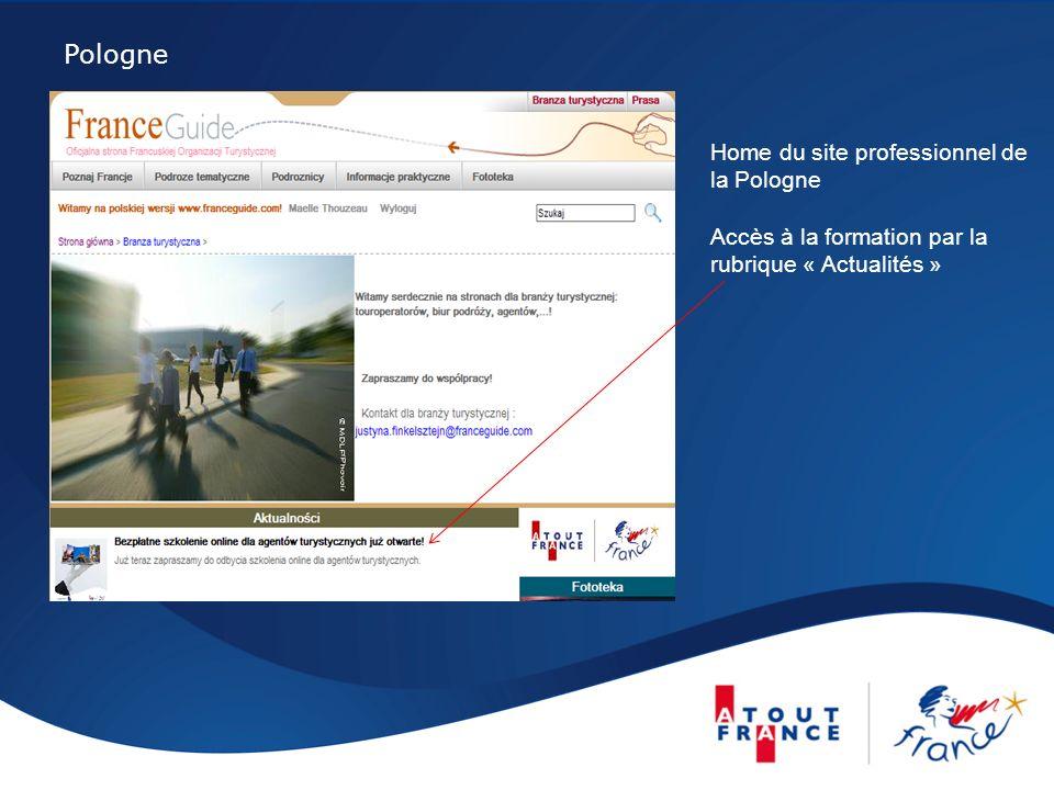 Pologne Home du site professionnel de la Pologne Accès à la formation par la rubrique « Actualités »