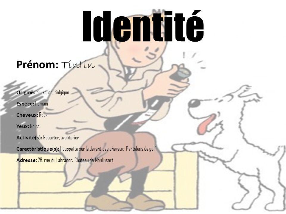 Prénom: Tintin Origine: Bruxelles, Belgique Espèce: Humain Cheveux: Roux Yeux: Noirs Activité(s): Reporter, aventurier Caractéristique(s): Houppette s