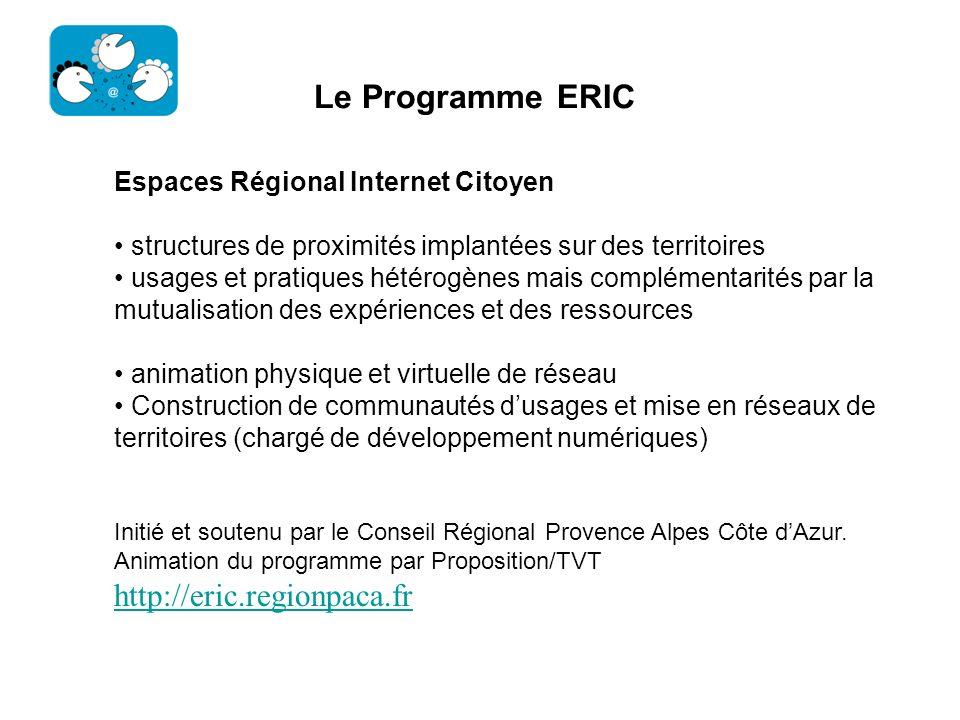Le Programme ERIC Espaces Régional Internet Citoyen structures de proximités implantées sur des territoires usages et pratiques hétérogènes mais compl