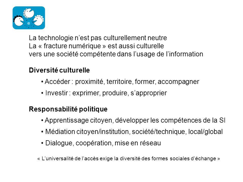 La technologie nest pas culturellement neutre La « fracture numérique » est aussi culturelle vers une société compétente dans lusage de linformation D