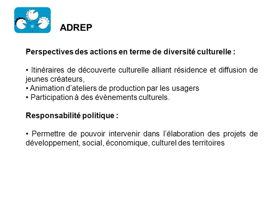 ADREP Perspectives des actions en terme de diversité culturelle : Itinéraires de découverte culturelle alliant résidence et diffusion de jeunes créate