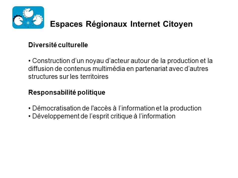 Espaces Régionaux Internet Citoyen Diversité culturelle Construction dun noyau dacteur autour de la production et la diffusion de contenus multimédia