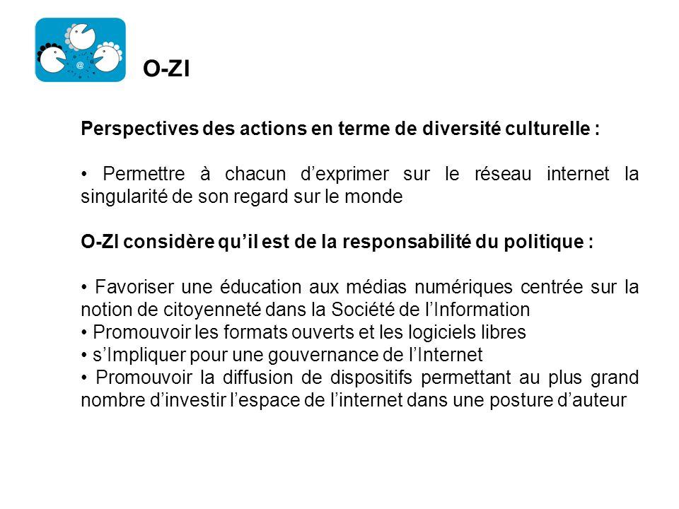 O-ZI Perspectives des actions en terme de diversité culturelle : Permettre à chacun dexprimer sur le réseau internet la singularité de son regard sur