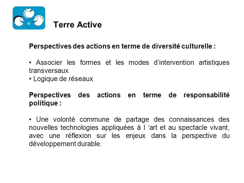 Terre Active Perspectives des actions en terme de diversité culturelle : Associer les formes et les modes dintervention artistiques transversaux Logiq