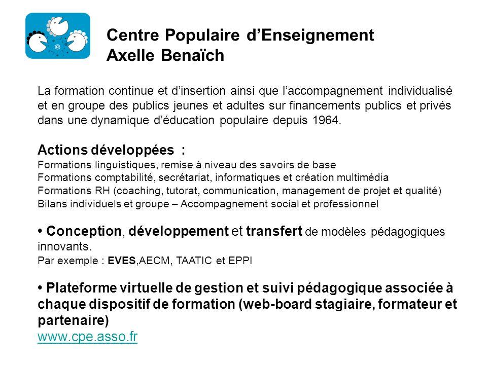 Centre Populaire dEnseignement Axelle Benaïch La formation continue et dinsertion ainsi que laccompagnement individualisé et en groupe des publics jeu