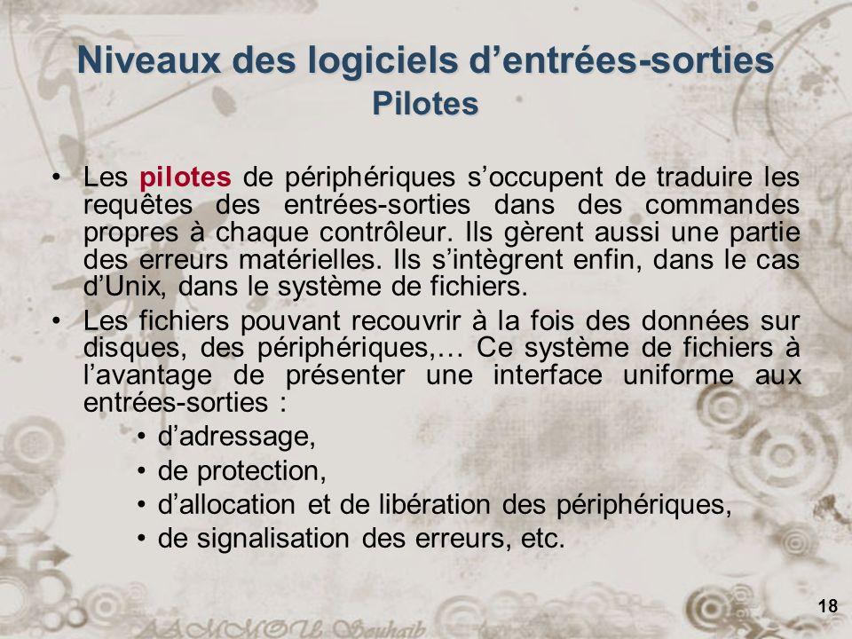 18 Niveaux des logiciels dentrées-sorties Pilotes Les pilotes de périphériques soccupent de traduire les requêtes des entrées-sorties dans des command