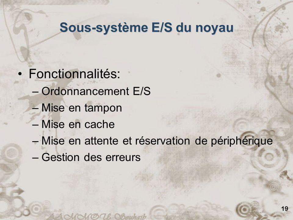 19 Sous-système E/S du noyau Fonctionnalités: –Ordonnancement E/S –Mise en tampon –Mise en cache –Mise en attente et réservation de périphérique –Gest