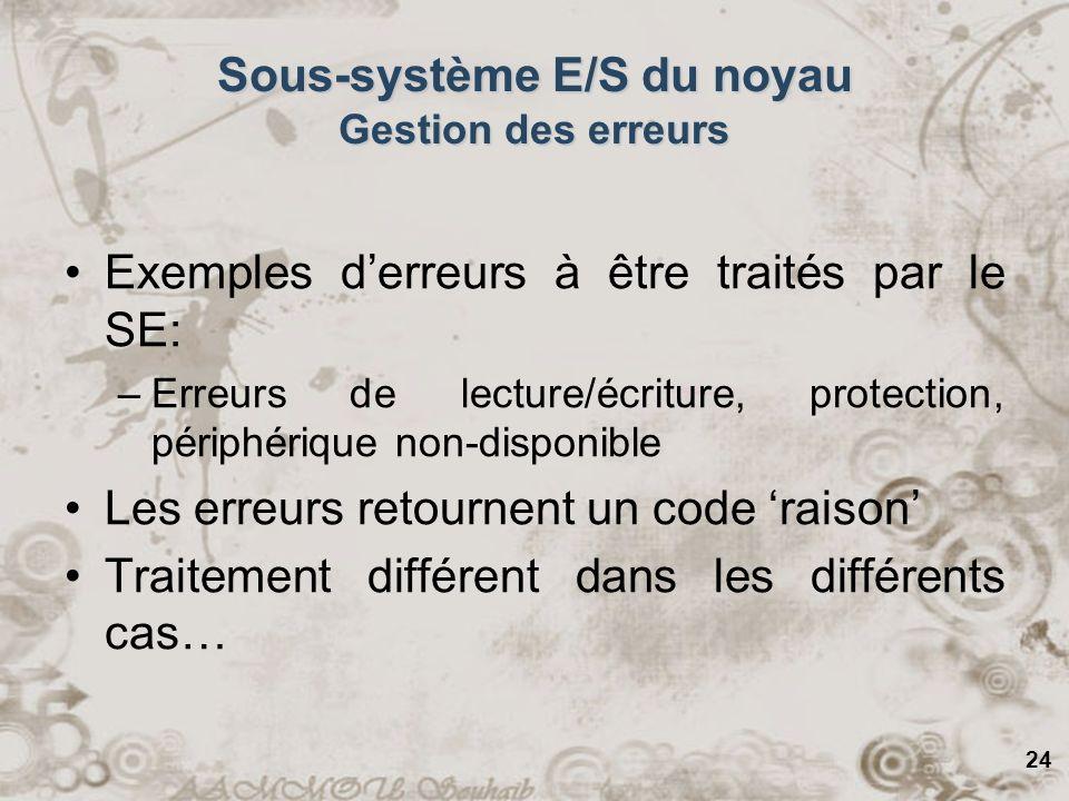 24 Sous-système E/S du noyau Gestion des erreurs Exemples derreurs à être traités par le SE: –Erreurs de lecture/écriture, protection, périphérique no