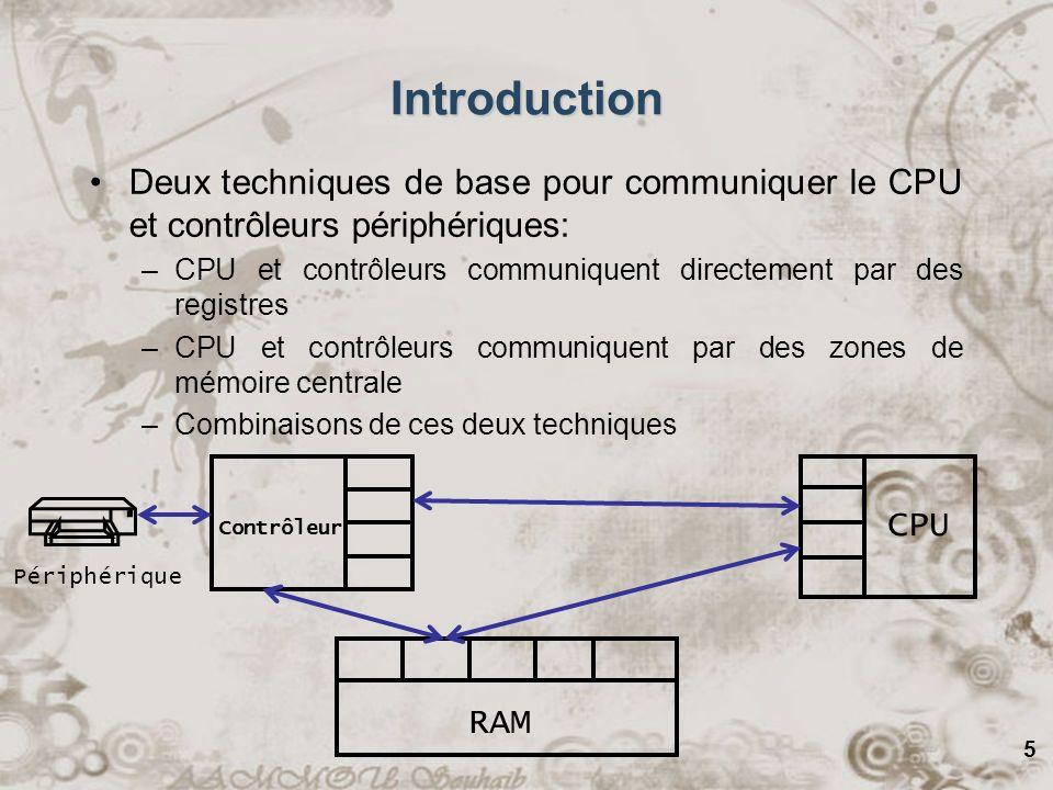 5 Introduction Deux techniques de base pour communiquer le CPU et contrôleurs périphériques: –CPU et contrôleurs communiquent directement par des regi