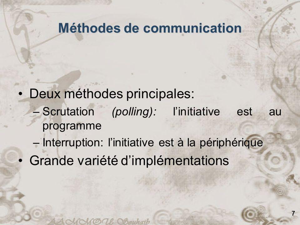 7 Méthodes de communication Deux méthodes principales: –Scrutation (polling): linitiative est au programme –Interruption: linitiative est à la périphé