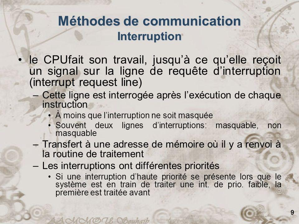 9 le CPUfait son travail, jusquà ce quelle reçoit un signal sur la ligne de requête dinterruption (interrupt request line) –Cette ligne est interrogée