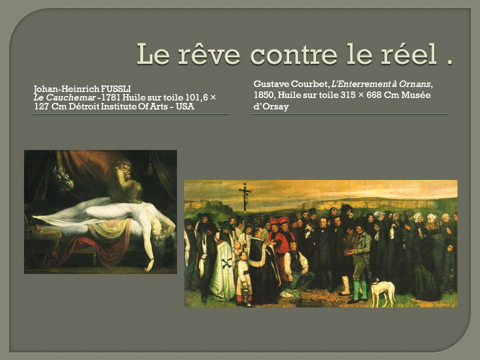 Johan-Heinrich FUSSLI Le Cauchemar -1781 Huile sur toile 101,6 × 127 Cm Détroit Institute Of Arts - USA Gustave Courbet, LEnterrement à Ornans, 1850,
