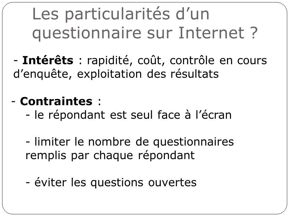 Les particularités dun questionnaire sur Internet ? - Intérêts : rapidité, coût, contrôle en cours denquête, exploitation des résultats - Contraintes