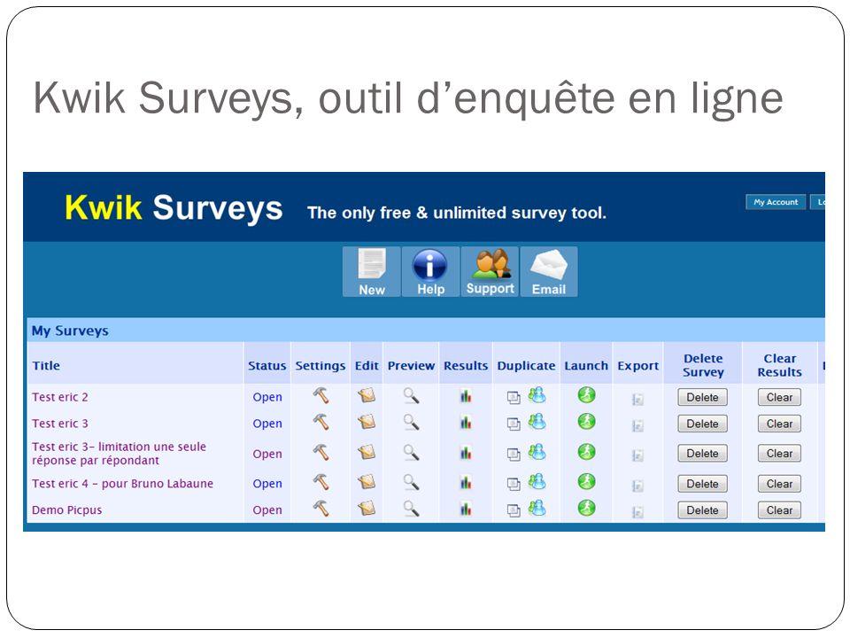 Kwik Surveys, outil denquête en ligne