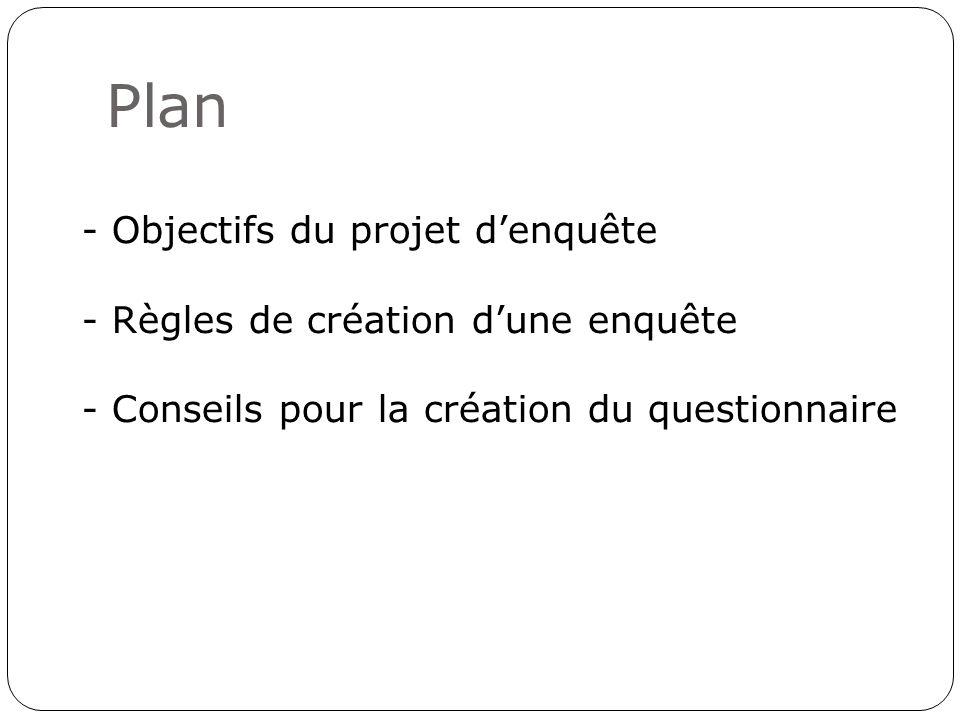 Plan - Objectifs du projet denquête - Règles de création dune enquête - Conseils pour la création du questionnaire