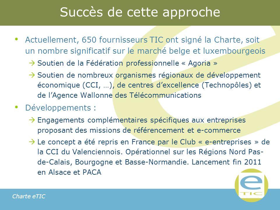 Charte eTIC Succès de cette approche Actuellement, 650 fournisseurs TIC ont signé la Charte, soit un nombre significatif sur le marché belge et luxembourgeois Soutien de la Fédération professionnelle « Agoria » Soutien de nombreux organismes régionaux de développement économique (CCI, …), de centres dexcellence (Technopôles) et de lAgence Wallonne des Télécommunications Développements : Engagements complémentaires spécifiques aux entreprises proposant des missions de référencement et e-commerce Le concept a été repris en France par le Club « e-entreprises » de la CCI du Valenciennois.
