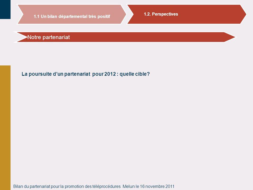 Bilan du partenariat pour la promotion des téléprocédures Melun le 16 novembre 2011 Bilan des adhésions aux téléprocédures en Seine et Marne Notre par