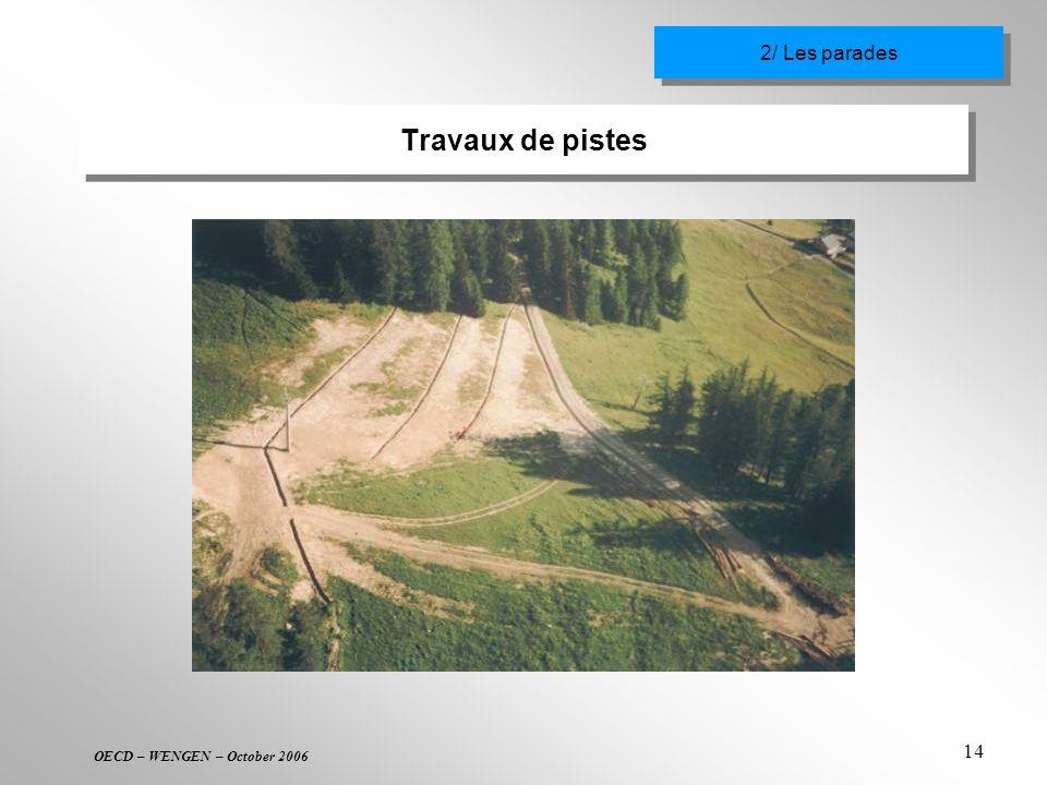 OECD – WENGEN – October 2006 14 Travaux de pistes 2/ Les parades