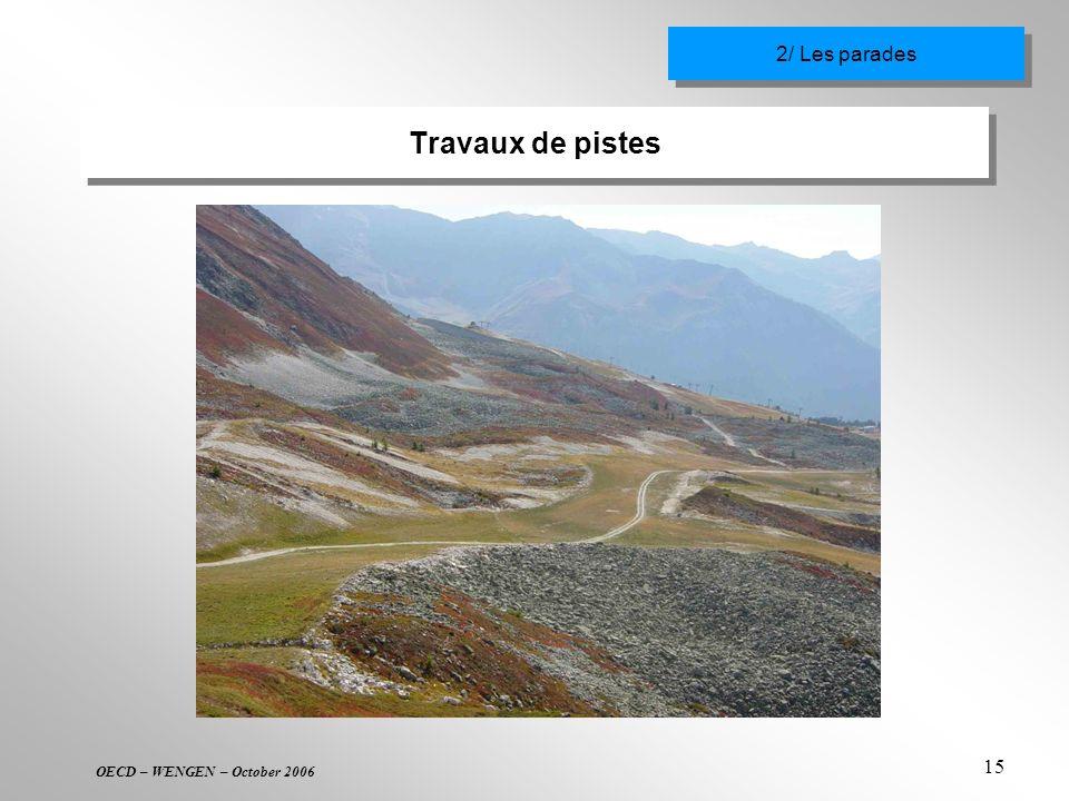 OECD – WENGEN – October 2006 15 Travaux de pistes 2/ Les parades
