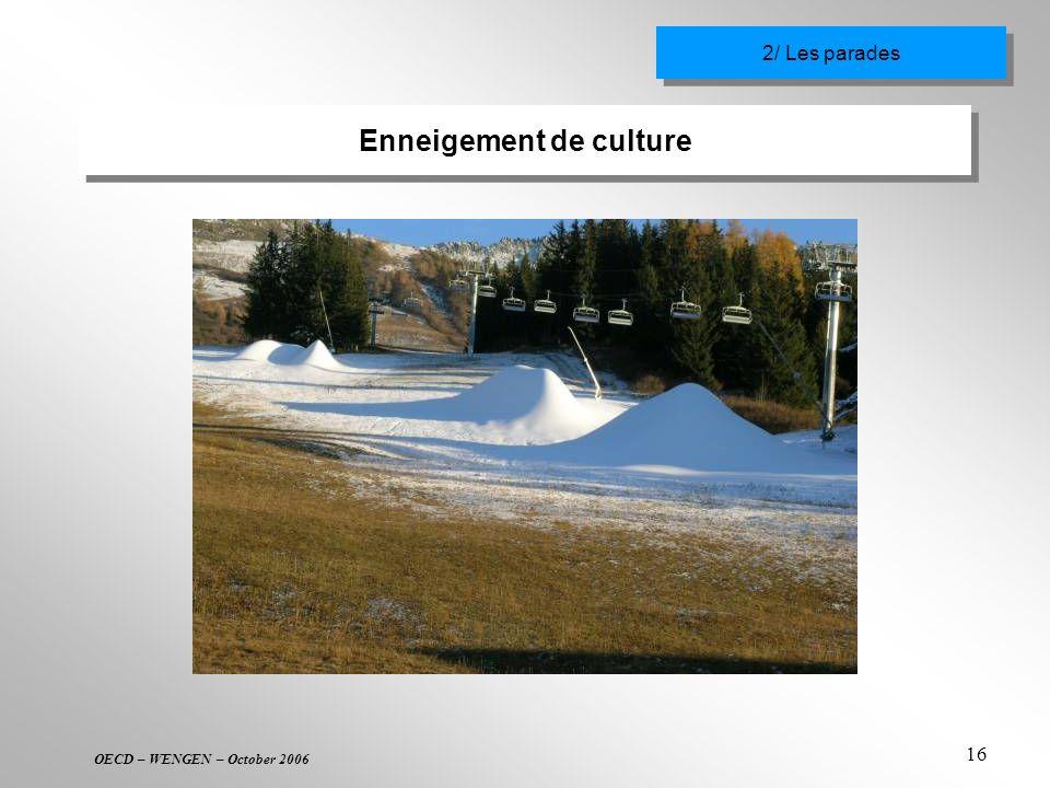 OECD – WENGEN – October 2006 16 Enneigement de culture 2/ Les parades