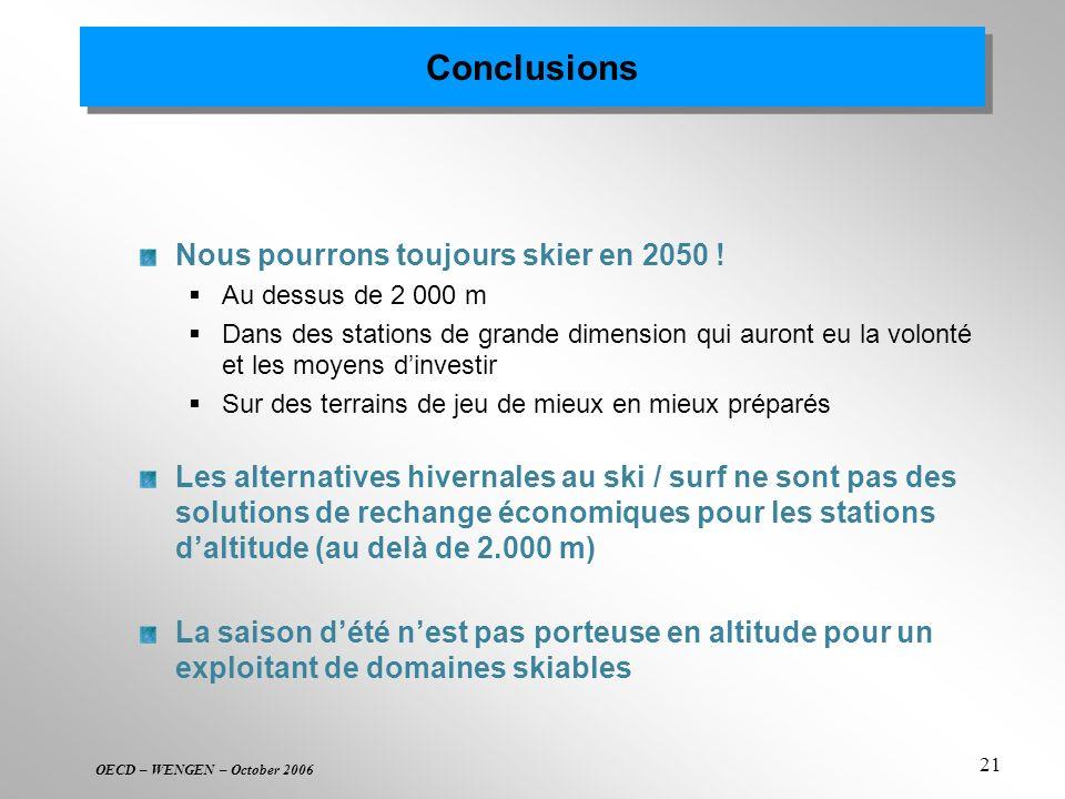 OECD – WENGEN – October 2006 21 Conclusions Nous pourrons toujours skier en 2050 ! Au dessus de 2 000 m Dans des stations de grande dimension qui auro
