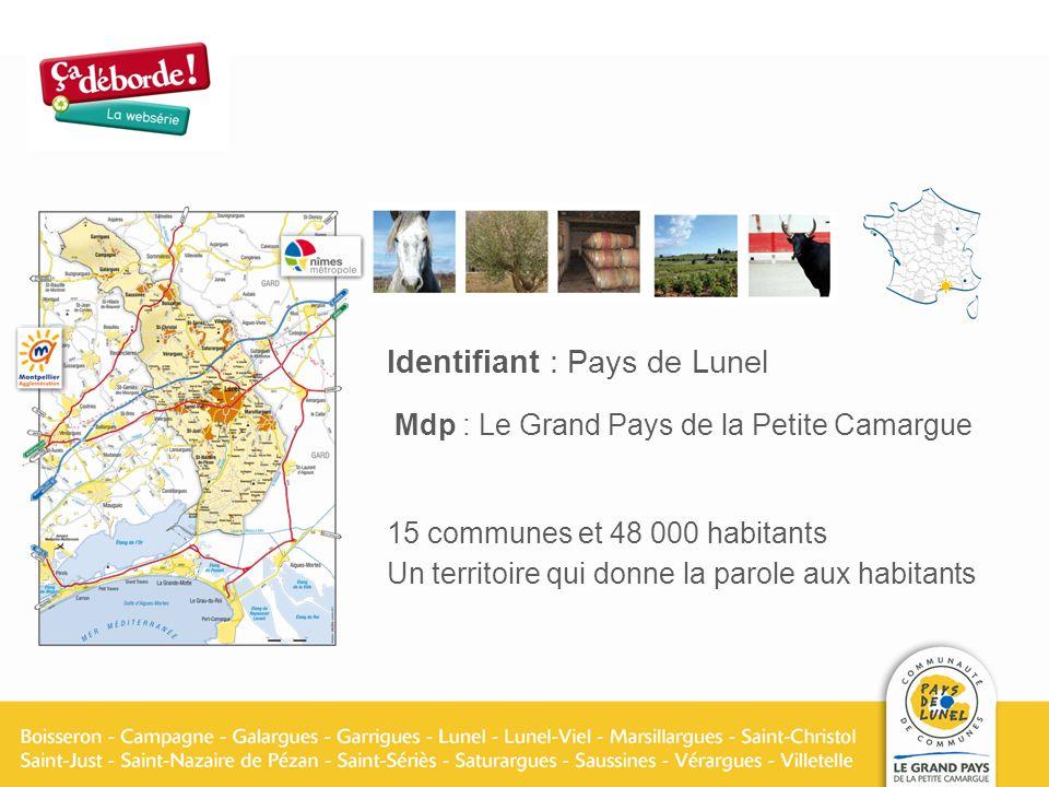 Identifiant : Pays de Lunel Mdp : Le Grand Pays de la Petite Camargue 15 communes et 48 000 habitants Un territoire qui donne la parole aux habitants