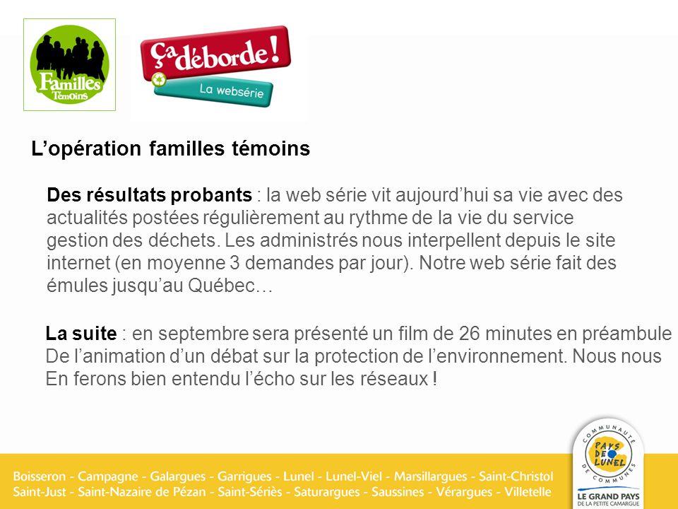 Lopération familles témoins La suite : en septembre sera présenté un film de 26 minutes en préambule De lanimation dun débat sur la protection de lenvironnement.
