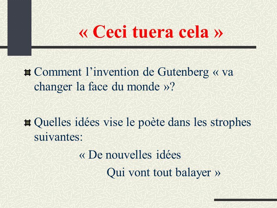 « Ceci tuera cela » Comment linvention de Gutenberg « va changer la face du monde »? Quelles idées vise le poète dans les strophes suivantes: « De nou