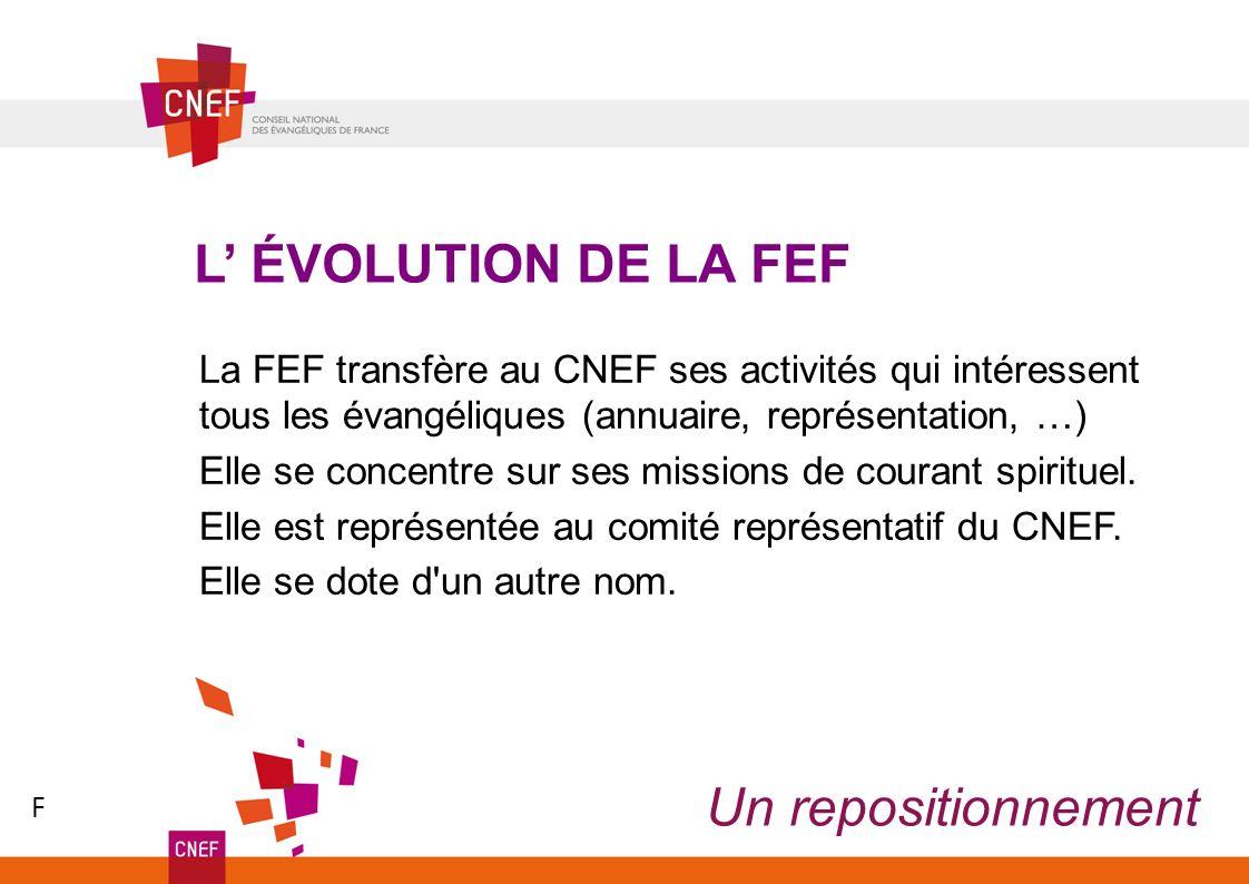 Un repositionnement L ÉVOLUTION DE LA FEF La FEF transfère au CNEF ses activités qui intéressent tous les évangéliques (annuaire, représentation, …) Elle se concentre sur ses missions de courant spirituel.