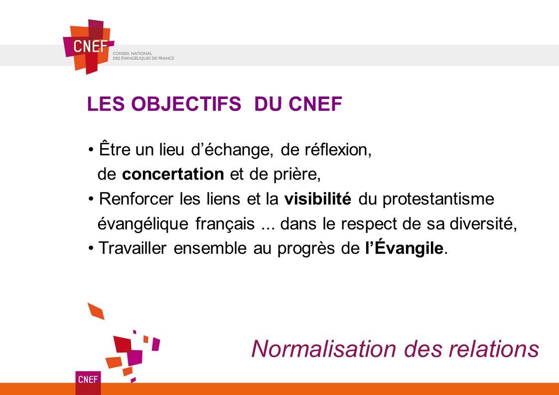 LES OBJECTIFS DU CNEF Être un lieu déchange, de réflexion, de concertation et de prière, Renforcer les liens et la visibilité du protestantisme évangélique français...