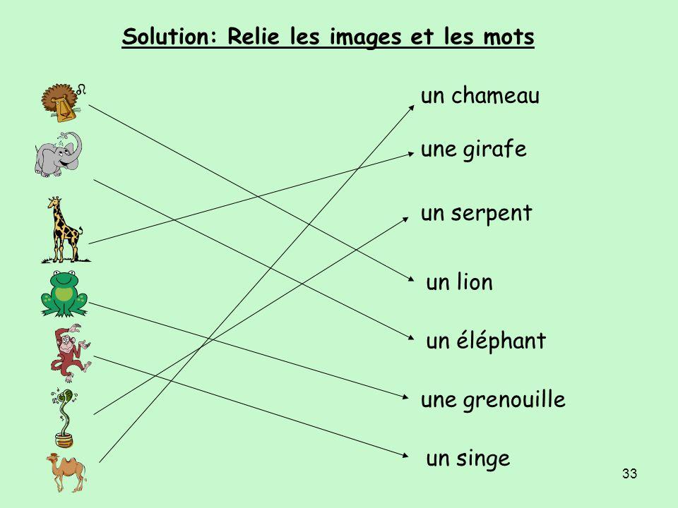 32 Relie les images et les mots un chameau une girafe un serpent un lion un éléphant une grenouille un singe