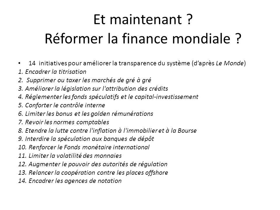 Et maintenant ? Réformer la finance mondiale ? 14 initiatives pour améliorer la transparence du système (daprès Le Monde) 1. Encadrer la titrisation 2