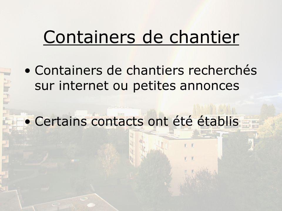Containers de chantier Containers de chantiers recherchés sur internet ou petites annonces Certains contacts ont été établis