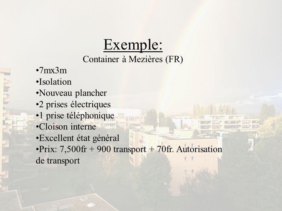 Exemple: Container à Mezières (FR) 7mx3m Isolation Nouveau plancher 2 prises électriques 1 prise téléphonique Cloison interne Excellent état général P