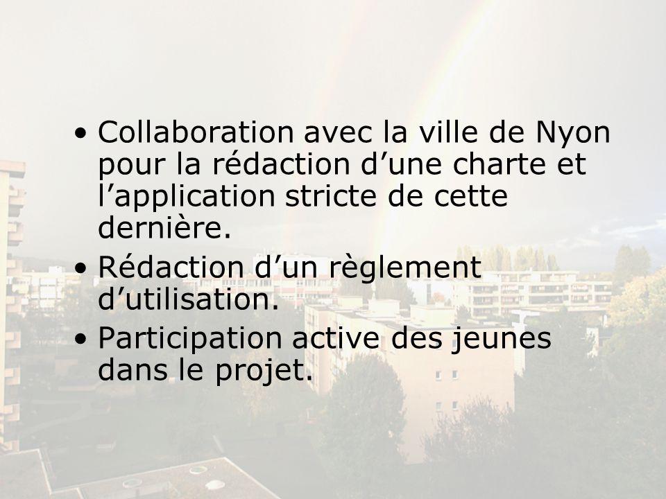 Collaboration avec la ville de Nyon pour la rédaction dune charte et lapplication stricte de cette dernière. Rédaction dun règlement dutilisation. Par