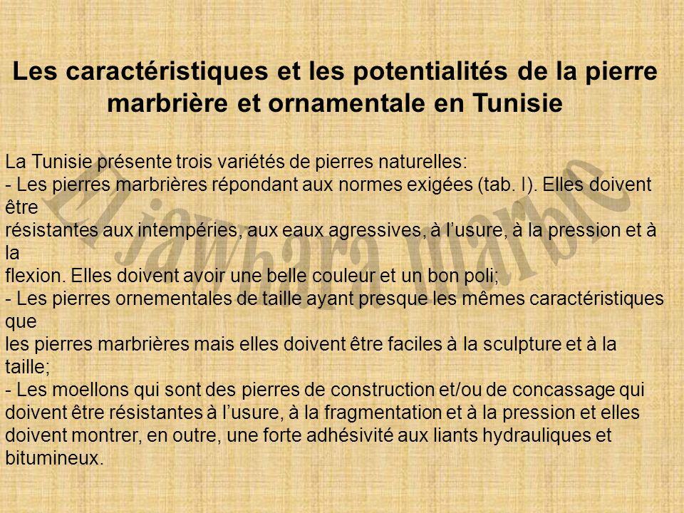 Les caractéristiques et les potentialités de la pierre marbrière et ornamentale en Tunisie La Tunisie présente trois variétés de pierres naturelles: -
