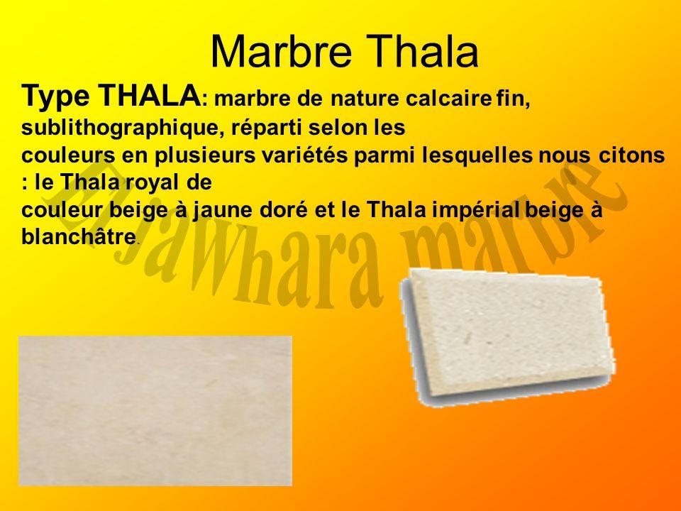 Marbre Thala Type THALA : marbre de nature calcaire fin, sublithographique, réparti selon les couleurs en plusieurs variétés parmi lesquelles nous cit
