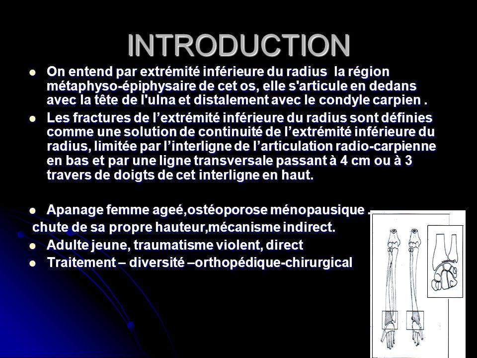 INTRODUCTION On entend par extrémité inférieure du radius la région métaphyso-épiphysaire de cet os, elle s'articule en dedans avec la tête de l'ulna