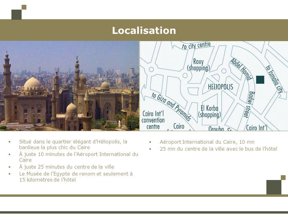 Localisation Situé dans le quartier élégant dHéliopolis, la banlieue la plus chic du Caire À juste 10 minutes de lAéroport International du Caire À juste 25 minutes du centre de la ville Le Musée de lEgypte de renom et seulement à 15 kilomètres de lhôtel Aéroport International du Caire, 10 mn 25 mn du centre de la ville avec le bus de lhôtel