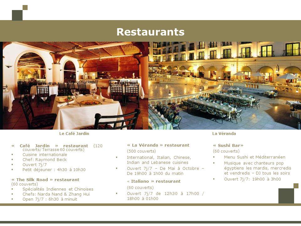 Restaurants « Café Jardin » restaurant (120 couverts/ Terrasse 60 couverts) Cuisine internationale Chef: Raymond Beck Ouvert 7j/7 Petit déjeuner : 4h30 à 10h30 « The Silk Road » restaurant (60 couverts) Spécialités Indiennes et Chinoises Chefs: Narda Nand & Zhang Hui Open 7j/7 : 6h30 à minuit « La Véranda » restaurant (500 couverts) International, Italian, Chinese, Indian and Lebanese cuisines Ouvert 7j/7 – De Mai à Octobre – De 19h00 à 1h00 du matin « Italiano » restaurant (60 couverts) Ouvert 7j/7 de 12h30 à 17h00 / 18h00 à 01h00 « Sushi Bar» (60 couverts) Menu Sushi et Méditerranéen Musique avec chanteurs pop égyptiens les mardis, mercredis et vendredis – DJ tous les soirs Ouvert 7j/7: 19h00 à 3h00 Le Café JardinLa Véranda