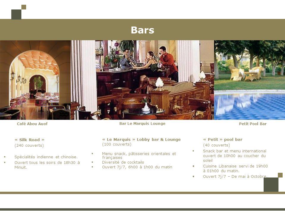 Bars « Le Marquis » Lobby bar & Lounge (100 couverts) Menu snack, pâtisseries orientales et françaises Diversité de cocktails Ouvert 7j/7, 6h00 à 1h00 du matin « Petit » pool bar (40 couverts) Snack bar et menu international ouvert de 10h00 au coucher du soleil Cuisine Libanaise servi de 19h00 à 01h00 du matin.
