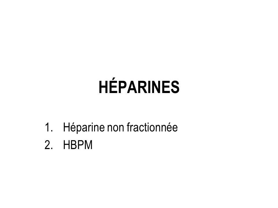 HÉPARINES 1.Héparine non fractionnée 2.HBPM