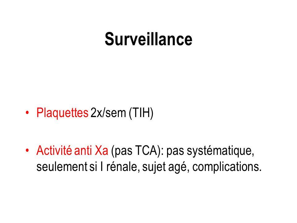 Surveillance Plaquettes 2x/sem (TIH) Activité anti Xa (pas TCA): pas systématique, seulement si I rénale, sujet agé, complications.