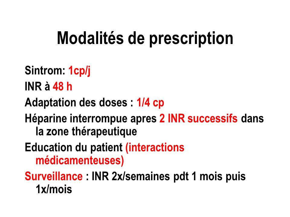 Modalités de prescription Sintrom: 1cp/j INR à 48 h Adaptation des doses : 1/4 cp Héparine interrompue apres 2 INR successifs dans la zone thérapeutiq