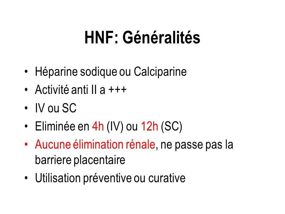 HNF: Généralités Héparine sodique ou Calciparine Activité anti II a +++ IV ou SC Eliminée en 4h (IV) ou 12h (SC) Aucune élimination rénale, ne passe p