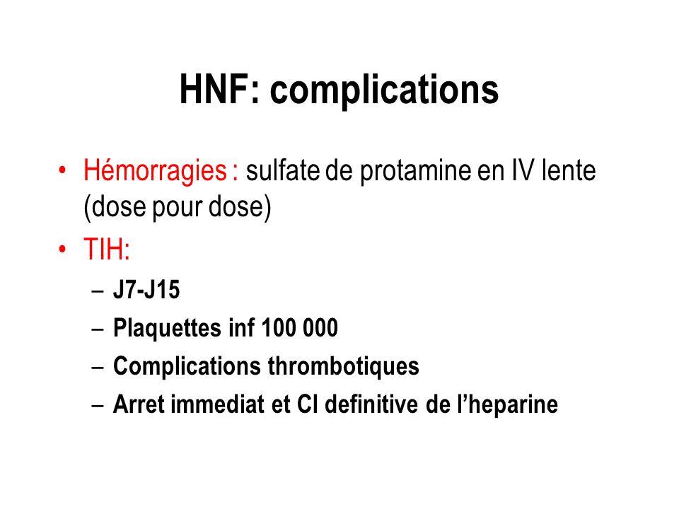 HNF: complications Hémorragies : sulfate de protamine en IV lente (dose pour dose) TIH: – J7-J15 – Plaquettes inf 100 000 – Complications thrombotique