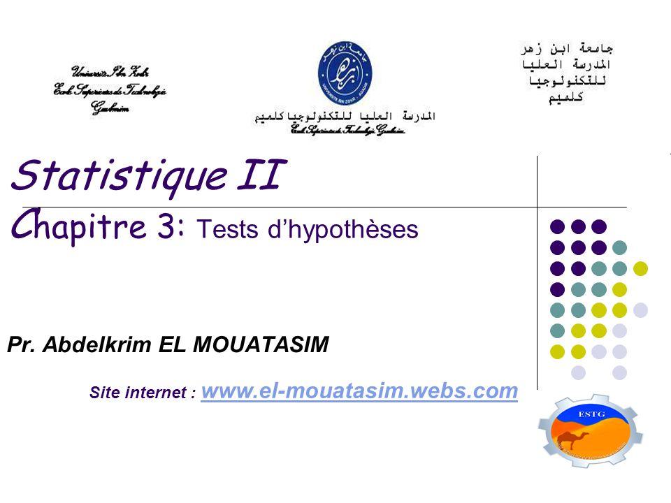 Statistique II C hapitre 3: Tests dhypothèses Pr. Abdelkrim EL MOUATASIM Site internet : www.el-mouatasim.webs.com www.el-mouatasim.webs.com